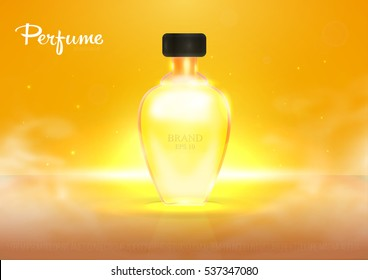 Realistic beautiful perfume bottle isolated on transparent glitter background. Template, mockup for ads, magazine, advertising, branding, print, cover. Fashion 3d vector illustration. Eps 10.