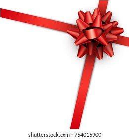 Realistic beautiful red bow with ribbon for gift wrap. Vector illustration background.