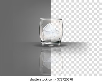 realistic beautiful whiskey glass with ice cubes vector on transparent background
