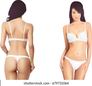 057144e710c Realistic beautiful woman body in white lingerie. Tanga type. Vector  illustration