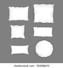 Realistic  bedroom  white pillow set.  Various shapes and sizes. Vector illustration