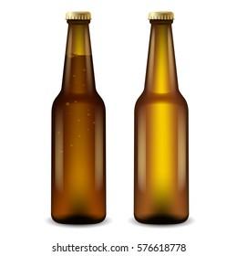Realistic Beer Bottles : Vector Illustration