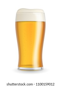 Realistic beer glass with blond beer, foam and bubbles isolated on white background. Transparent vector illustration.