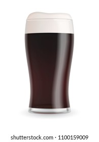 Realistic beer glass with dark stout beer, foam and bubbles isolated on white background. Transparent vector illustration.
