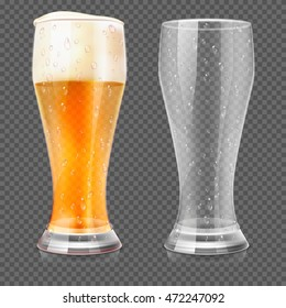 Realistic beer glasses, empty mug and full lager glass isolated on checkered background. Alcohol beverage with white foam. Vector illustration
