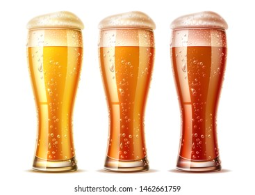 Realistic beer glasses set. Lager, ale and dark beer in mugs with froth and water bubbles and drops. Fresh alcohol drink for brewery, restaurant or bup menu design. Craft beer for oktoberfest design.