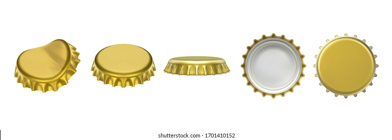 Realistic beer or lemonade bottle cap, metallic lid for glassware bottle of drink. Set of top and bottom, side view on container cover with dent. Beverage and drinking, fluid vector objects design