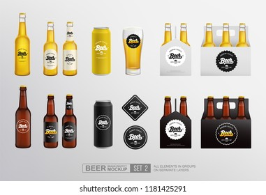 Realistic Beer Mockup set of glass bottle, Tin Can, packaging box. Beer Bar and Pub Branding items mockup set with vintage lettering beer logo. Vector template