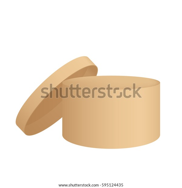 Realistic beige round box with lid, 3D vector illustration, isolated on white background.