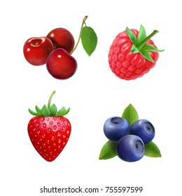 Realistic berry set. Strawberry, raspberry, blueberries, cherry illustration.