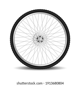 Realistic bicycle tire wheel isolated on white background. Mountain bike wheel 3d design. New cycle tyre with metal spokes. Vector illustration