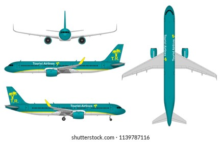 realistic big passenger airplane. view from above; front view; side view.
