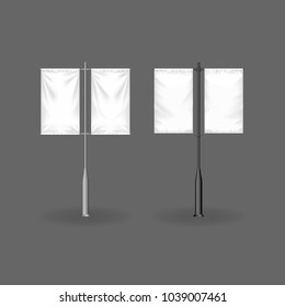 Realistic billboards, flags and outdoor advertising. Designs fashionable outdoor billboards advertising, layout template presentation. Blank poster, retail signs, mockup stand. Vector illustration.