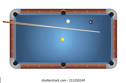 A realistic billiards pool table illustration. Blue felt top with wooden rails, stick, and balls. Vector EPS 10. Vector file contains transparencies and gradient mesh.