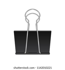 Realistic binder clip isolated on white background. Black metal paper clip icon. School and office supplies . Stationery vector illustration. Easy to edit template for your design projects.