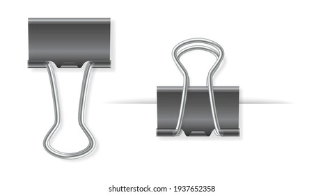 Realistic binder paper clips. Paper holder isolated on white background. Graphic steel stationery elements. Paperclips set. 3d vector illustration