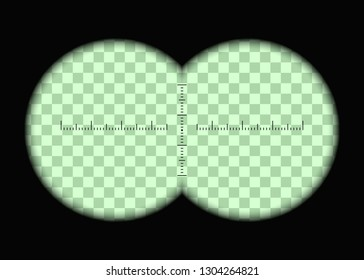 Realistic binoculars. Two circles with transparent fields and measuring scale. Vector illustration, eps, 10.