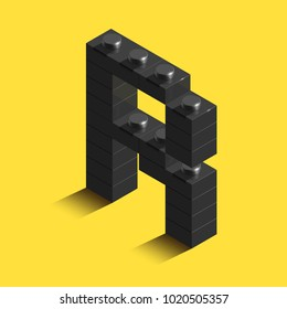 Realistic black 3d isometric letter R of the alphabet from constructor lego bricks. Black 3d isometric plastic letter from the lego building blocks. Lego letters. 3d letters. 3d design