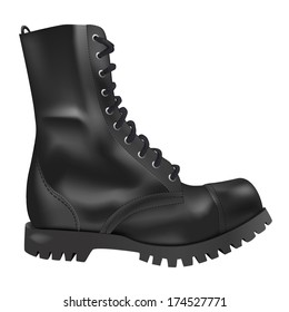 Realistic Black Army Boots Side view
