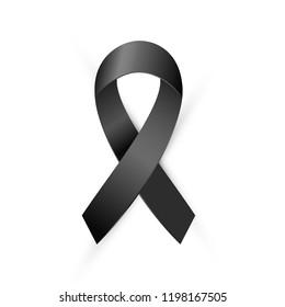 Realistic Black Awareness ribbon isolated on white background. Terrorism, death, Mourning and Melanoma medical symbol. Vector illustration EPS 10 file.