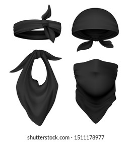 Realistic black bandana. Face buff and handkerchief isolated on white, face scarf and face bandage template. Vector illustration head cover or neck scarves set for tourists gangster traveller