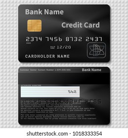 Realistic black bank plastic credit card with chip vector template isolated. Credit plastic card, bank personal cardholder name illustration