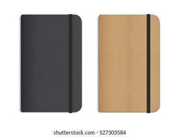 Realistic Black and Beige Notebooks with Elastic Bands. Vector