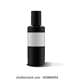 Realistic black bottle. Mock up. Cosmetic vial, flask, flacon. Container for perfume. Medical bank. Cosmetic dropper-bottle for serum. Label, sticker