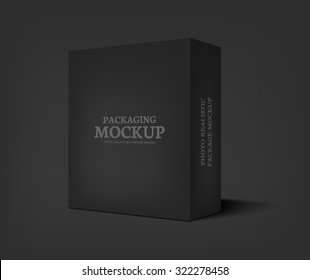 Realistic black box on dark gray background. Packaging design template container. Vector illustration
