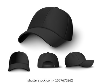Realistic black cap mockup set from front, back and side view - modern fashion accessory collection with blank copy space. Dark colored baseball hat vector illustration.