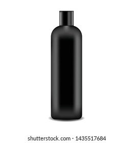 Realistic black cosmetics container for soap, cream, lotion, shampoo vector illustration. Mock Up for cosmetics product