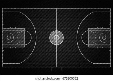 Realistic Black Denim texture of Basketball court field element vector illustration design concept
