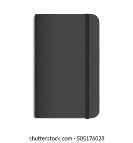 Realistic Black Diary, Notebook with Elastic Band. Vector Mockup