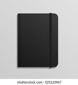 Realistic Black Diary Notebook with Elastic Band mockup eps 10 vector