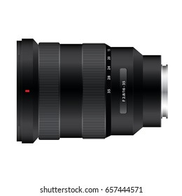 realistic black digital camera lens on white background vector illustrations