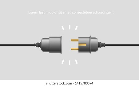 Realistic Black Electric Plug and Socket unplugged in minimalistic design 404 error on white background. Electrical theme banner, disconnection, loss of connect. Vector illustration