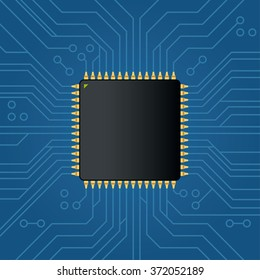 Realistic black electronic microchip. Vector illustration