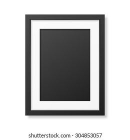 realistic black frame a4 isolated on white it can be used for presentations vector