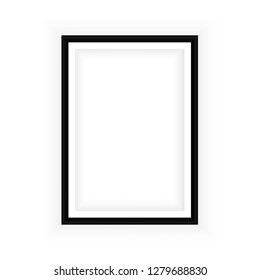 Realistic black frame isolated on white background. Perfect for your presentations. Vector illustration