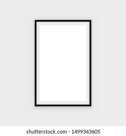 Realistic black frame isolated on grey background. Perfect for your presentations. Vector illustration.