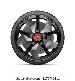Realistic black gray car wheel alloy kevlar with tire style sport race on white background vector illustration.