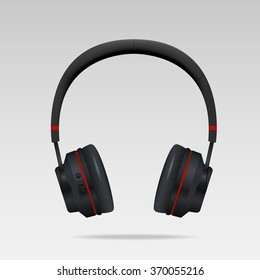 Realistic Black Headphones
