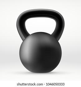 Realistic Black kettlebell. Vector illustration