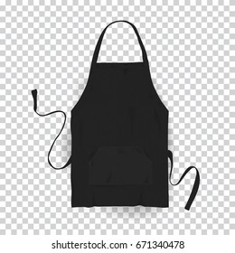 Realistic black kitchen apron. Vector illustration on transparent background.
