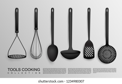 Realistic black kitchen tools collection with potato masher whisk spoon ladle spatula and skimmer isolated vector illustration