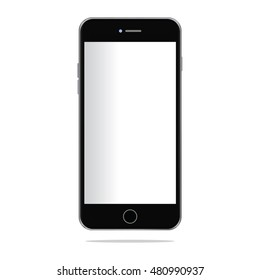 Realistic black modern smart-phone isolated.