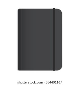 Realistic Black Notebook, Diary or Book. Vector Mockup.