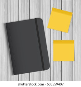 Realistic Black Notebook, Diary on Wooden Background With Two Yellow Sticky Notes. Vector Mockup.