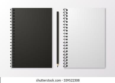 Realistic black notebook with pencil and template blank, vector