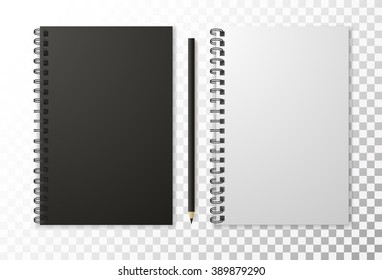 Realistic black notebook with pencil and template blank isolated, vector